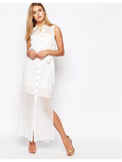 River Island Maxi Shirt Dress - White