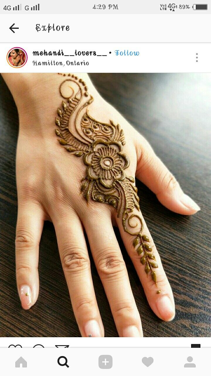 Short one sided mehndi  design