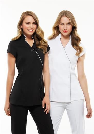 BLACK,Ladies Zen Tunic Crossover,Chemist Beauty Salon Medical WOMENS New UNIFORM