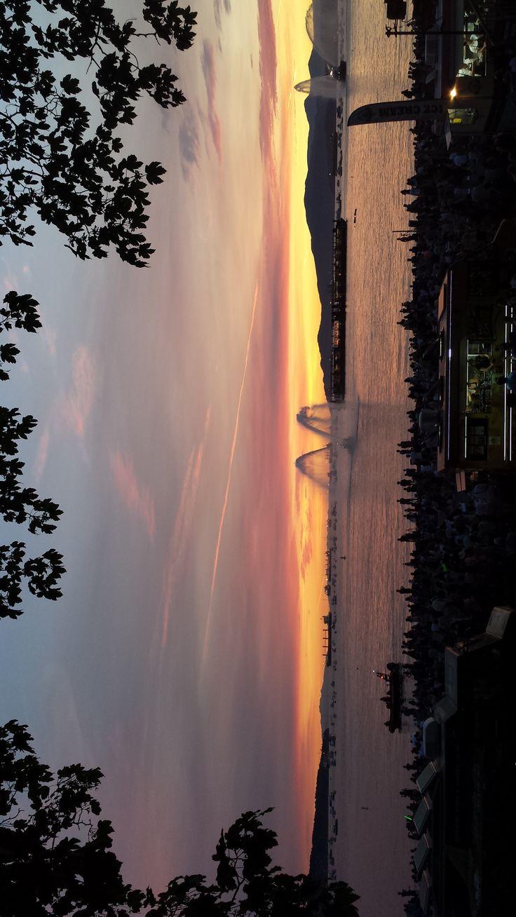 Elegant sunset shined on Canada Firework night