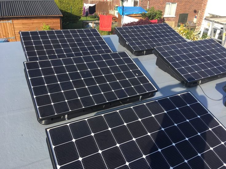 Using trays, the solar panels can be installed and angled