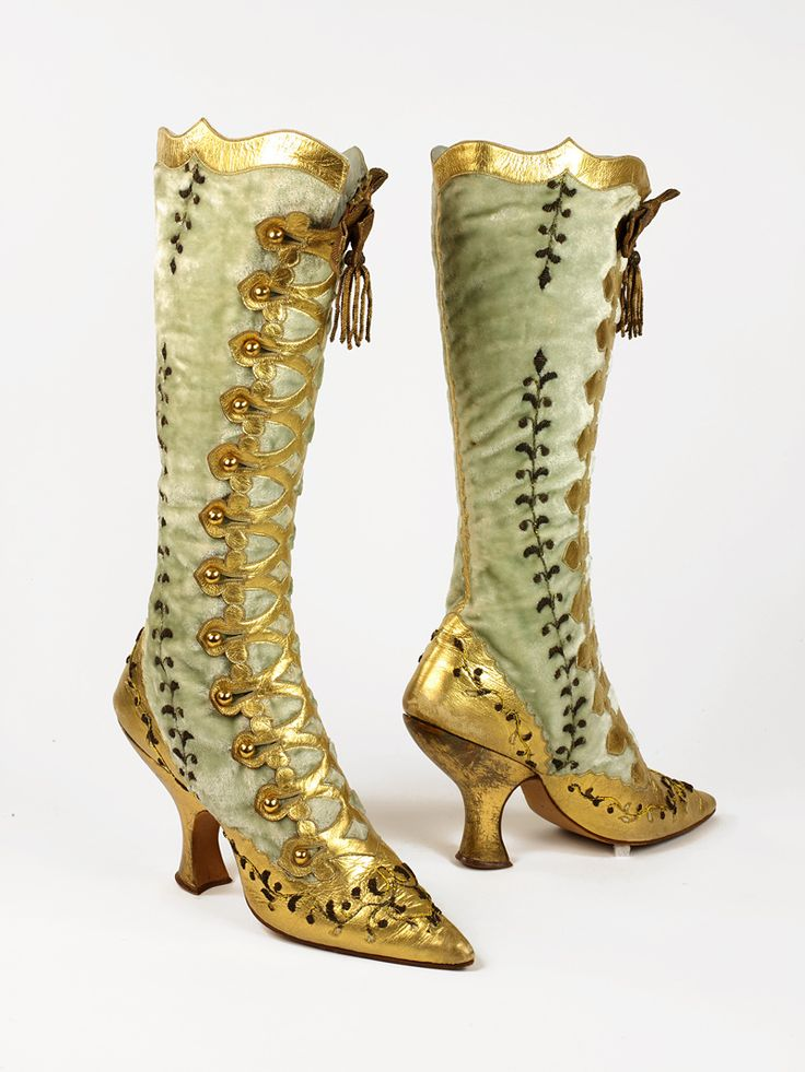 Gold button boot: Swedish or German, c. 1890s