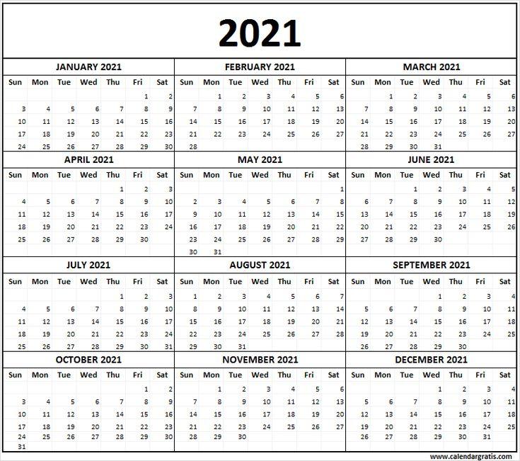 Pin on 2021 Calendar Printable