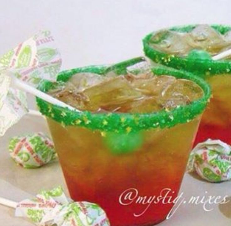 Rim glasses with @littlewaisted Apple Pie Glitter Sugar, Fill with ice and add-  Red- #Grenadine #RedAppleLiqueur #Fireball  Green-  #GreenApplePucker #GreenAppleMix #SpicedRum #100proof  top off with #GingerAle