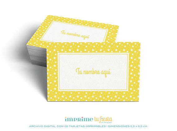 Printable BUSINESS CARDS | Design For Kids | Stars - Yellow  | Prints as many times you want | 8 Completely CUSTOMIZED cards for you!