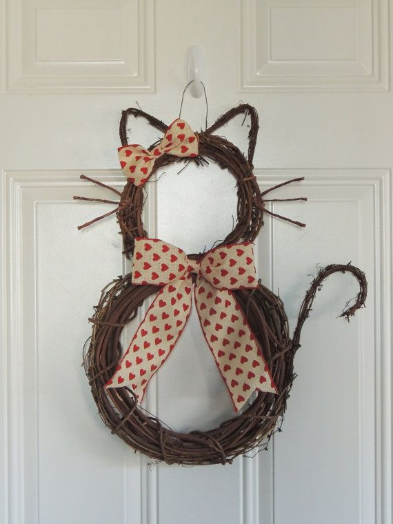 Grapevine Cat Valentine Wreath Valentine's day cat Wreath