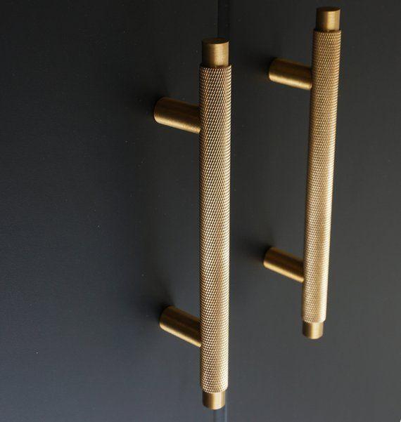 Knurled T Bar Solid Brass Cabinet Handles Brass Door Handles