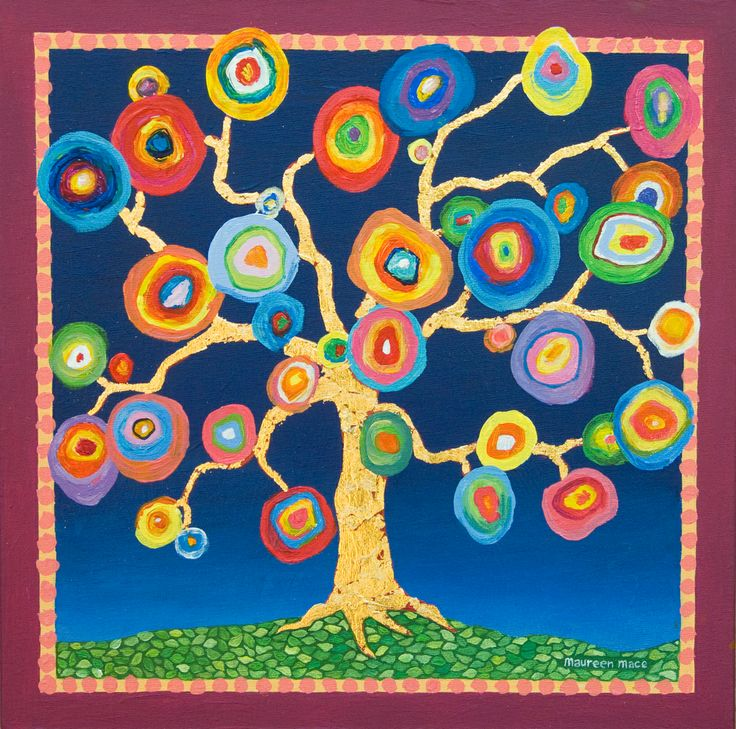 My Kandinsky Tree. 12 inches square with a golden trunk ...