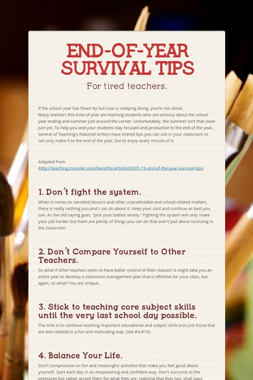 END-OF-YEAR SURVIVAL TIPS