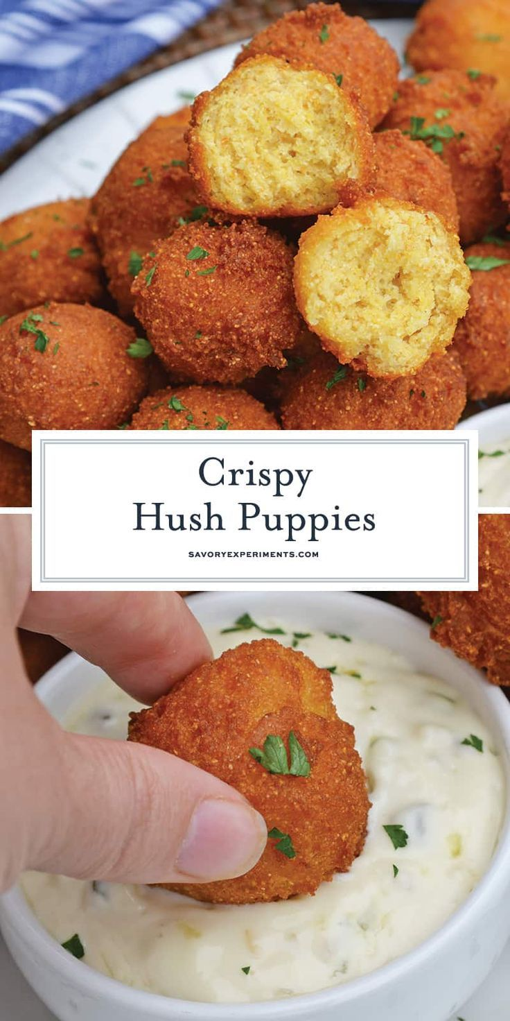 Hush Puppies Are Gently Fried Cornbread With A Crunchy Outside And Soft Doughy Inside Serve With Fish Fried Cornbread Fried Fish Recipes Hush Puppies Recipe