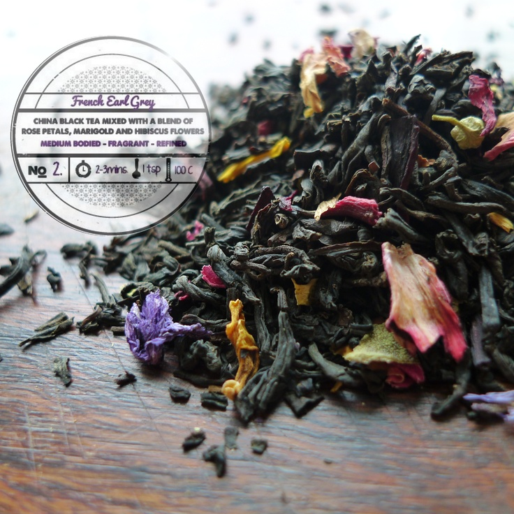 French Earl Grey by T totaler:   China Black Tea Mixed with a Blend of Rose Petals, Marigold and Hibiscus Flowers.