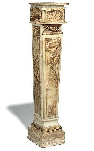 AN ITALIAN ONYX AND ALABASTER AND GILT-METAL MOUNTED PEDESTA