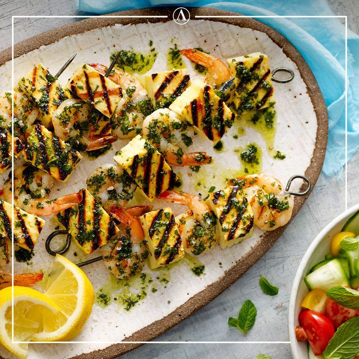 Prawn & Haloumi Skewers #summerrecipes #easyrecipes #Mediterranean #cheese #Lemnos