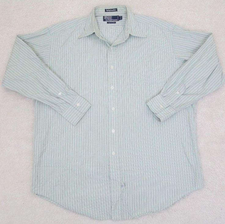 Ralph Lauren Polo Dress Shirt Green White 15.5 33 Medium Striped Cotton Pocket #RalphLauren #TheBigDressShirt
