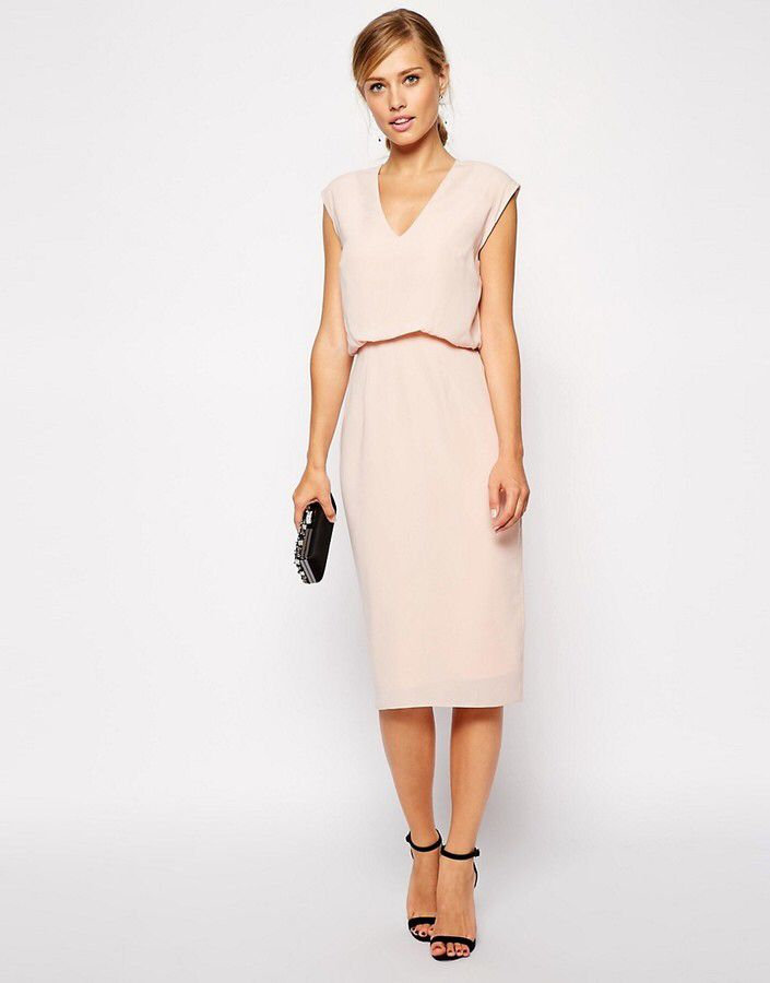 asos pencil dress with blouson and low v shopstyle modestil