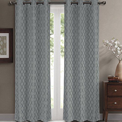 Willow Jacquard Gray Grommet Blackout Window Curtain Panels Pair / Set of 2 Panels 42x63 inches Each by Royal Hotel