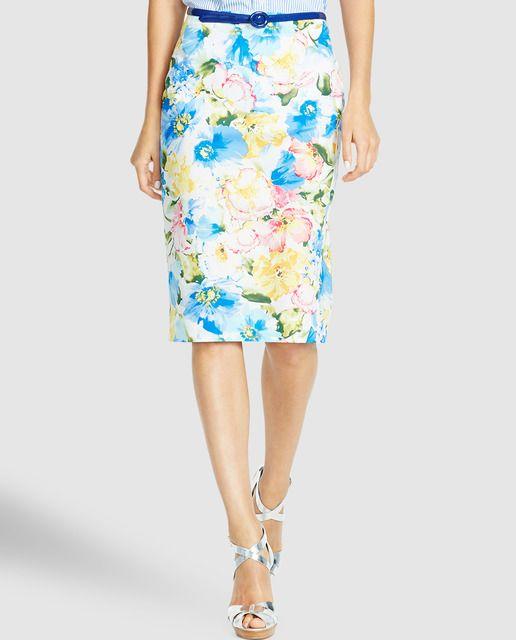 Falda recta de mujer Polo Ralph Lauren con estampado floral