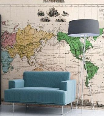 Maps never go out of style. Check out this fantastic #DIY wallpaper idea.