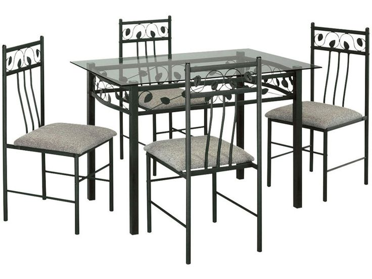 Table rectangulaire en verre et m tal 4 chaises for Table manger conforama