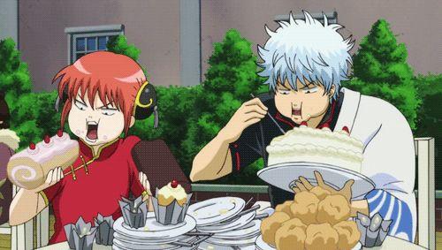 Gintama ~ GIF of Kagura and Gintoki eating to their hearts content