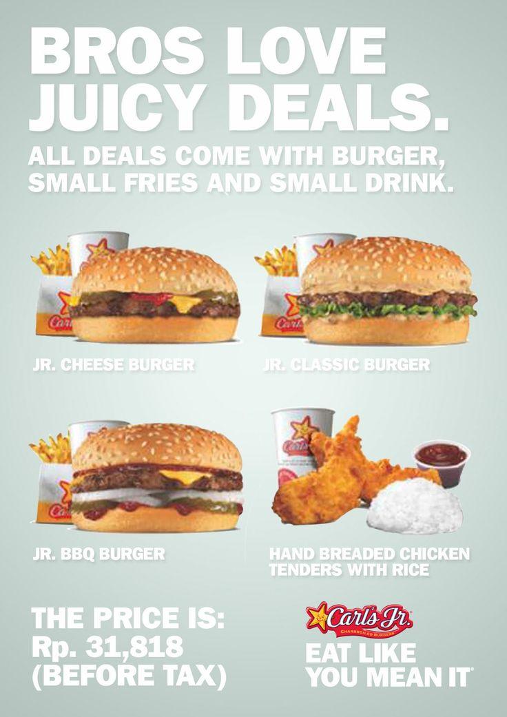 Di antara empat burger ini, mana pilihan makan siang loe, Bro? Hanya Rp 31,818 dan GRATIS small fries and FREE FLOW drink