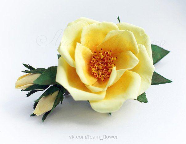 Заколка Шиповник Rosa Pimpinellifolia. Больше цветов на сайте ЦВЕТЫ-ФОАМИРАН.РФ