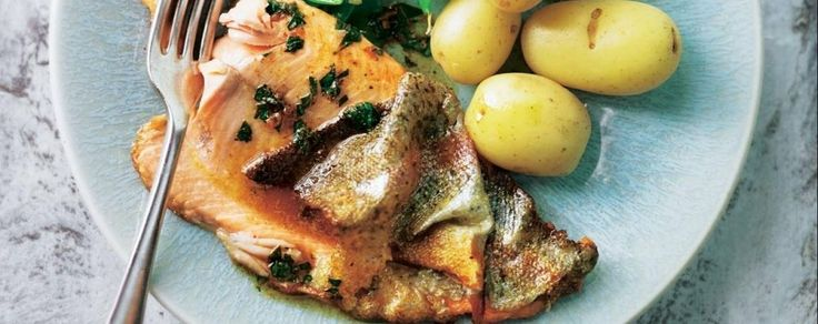 The white wine sauce in this quick and easy pan-fried trout fillet recipe  is indulgent but not too heavy, perfect for fish.
