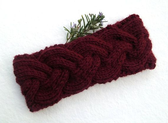 Women Knitted Headband in Dark BurgundyHandmade by Need4KnitShop