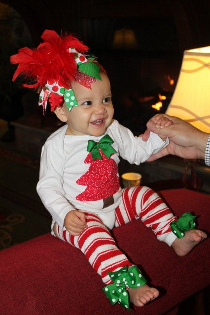 Baby Girl Christmas outfit -- Trimming The Tree -- Christmas Tree bodysuit,  bow/headband, leg warmers - Best 25+ Baby Girl Christmas Ideas On Pinterest English Names