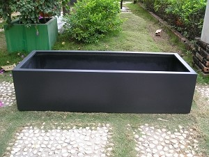 Large Black Outdoor Fiberglass Rectangular Planter, 4 Ft, $287