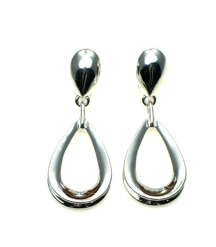 Zilverkleurige oorclips met ovale hanger | Mooie zilverkleur oorclips met hanger | Lengte van de clip oorbel is 6 cm. | EAN: 8718189387080 | A-zone fashion