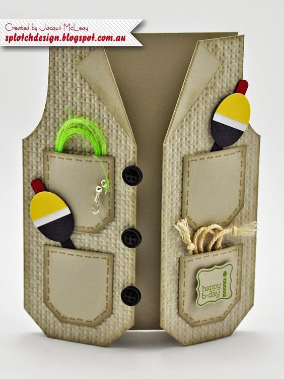 Masculine Fishing Card. This vest shaped card would be an adorable Father's Day card.: