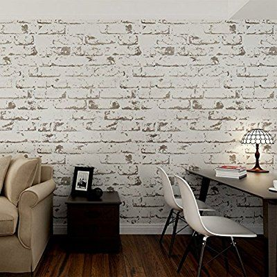 Hanmero Rural Style Imitation Brick Wall Pattern Looks Real Up Wallpaper 20.86 Inches by 393.7 Inches Long Murals PVC Vinyl Dimensional 3D Gray Wall Paper TV Living Room Bedroom Decor Light Gray