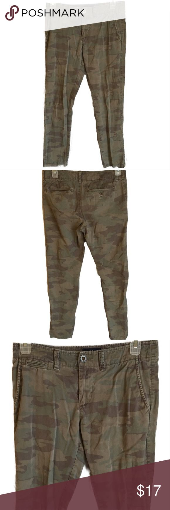"""American Eagle Mens Slim Straight Camo Pants 30x34 American Eagle men's slim straight camo pants size 30x34  Measurements- Waist: 33"""" Rise: 10"""" Inseam: 31""""    Customer service is my #1 priority! I strive to not only meet, but to exceed the standard. If for any reason you are unhappy with your order, I will make it right!      Thank you for supporting small business! American Eagle Outfitters Pants"""
