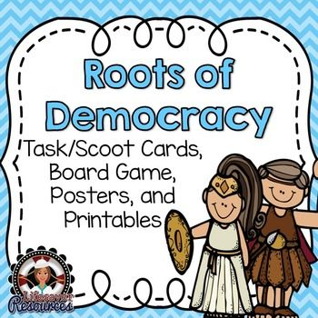 Roots of Democracy Set - 24 question/task cards, game board, 2 posters, 2 practice/assessment sheets.Many possibilities for classroom use.Set includes: 2 posters/anchor charts for classroom display- 1 poster for direct democracy and 1 for representative democracy.  24 task/scoot question cards with a recording sheet.-Great as a whole class review activity or small group center activity.