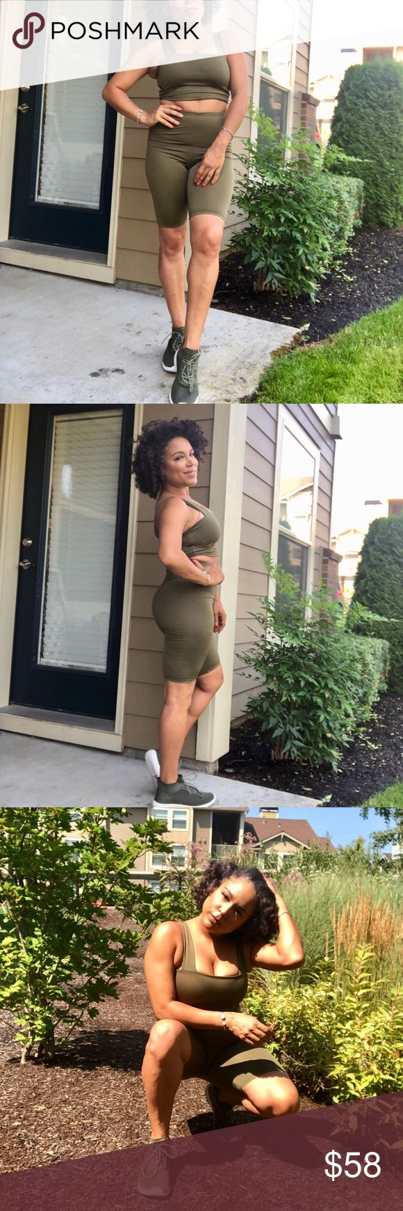 Olive green square neck crop top and biker shorts. Sleeveless square neckline cr...