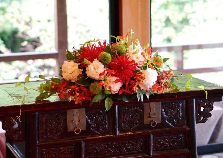 #tokugawaen#novarese#vressetrose#Wedding #japanese #main table #table #Flower #maintable#Bridal#徳川園# ブレスエットロゼ #ウエディング# 和風 #和装 # メインテーブル#トーション #テーブル # 花#テーブルコーディネート#ブライダル#結婚式#ナチュラル#ブレスエットロゼ名古屋#和#赤#ダリア