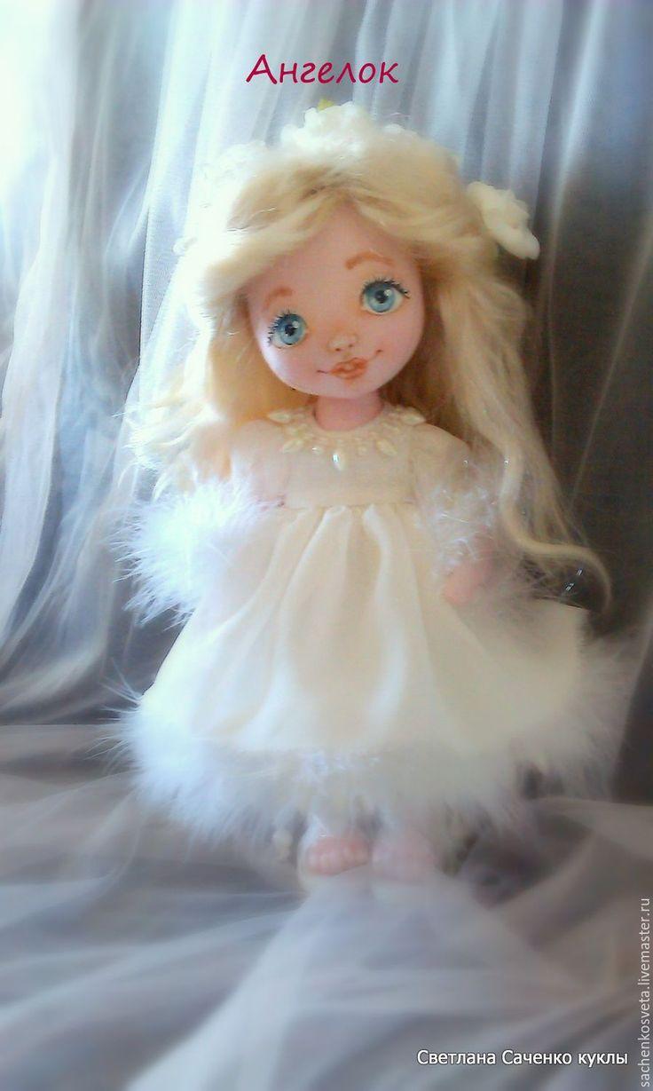 Купить Рождественский Ангел - белый, текстильная кукла, интерьерная кукла, коллекционная кукла