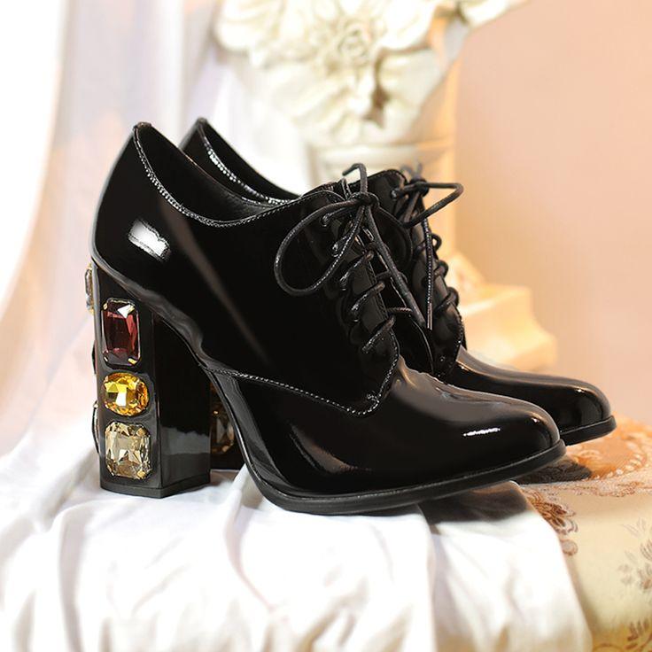 женские ботильоны из натуральной лаковой кожи, удобная шнуровка, устойчивый каблук, лодочки женские, женская обувь больших размеров,туфли женские на каблуке,лодочки на каблуке,высокий каблук, алмазные свадебные туфликупить в магазине HI MEILENI StoreнаAliExpress
