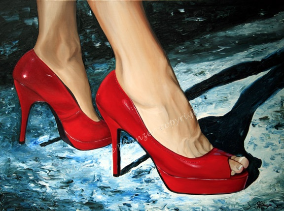 Red. I just love this style of high heals so thought I would try something different! Oil painitng 30x40 wrapped canvas. www.artbyjuliep.com