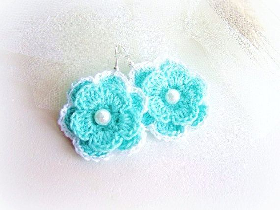 Tiffany blue crochet flower earrings by MalinaCapricciosa on Etsy, $12.00