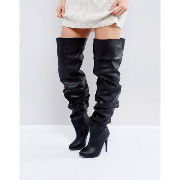 Public Desire Black Slouch Over The Knee Boots (145 AUD) ❤ liked on Polyvore featuring shoes, boots, black, over-the-knee high-heel boots, over the knee high heel boots, over the knee thigh high boots, black thigh high boots and thigh high boots