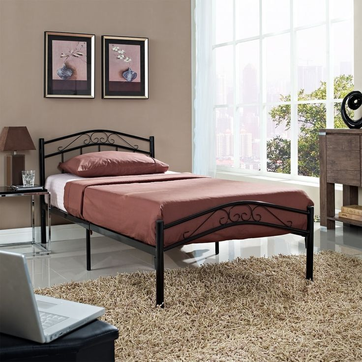 Modway Townhouse Iron Twin Bed Frame (Black), Kids Unisex