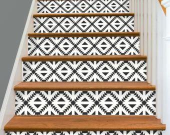 Bandes de 15steps escalier Riser vinyle autocollant amovible Peel & Stick: W010
