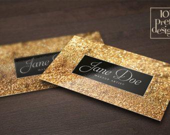 Carte de visite de paillettes d'or modèle maquillage artiste carte de visite design or business carte imprimable, noir et or business cartes élégantes