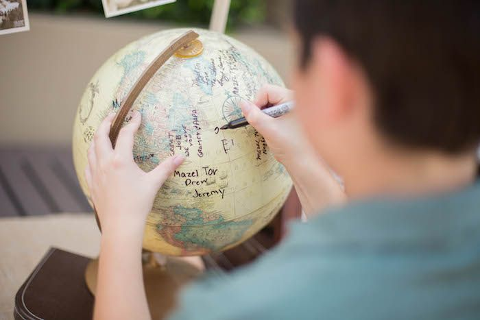 Vintage Globe for Well Wishes + Signatures from a Vintage Travel Bar Mitzvah Party via Kara's Party Ideas - KarasPartyIdeas.com (8)