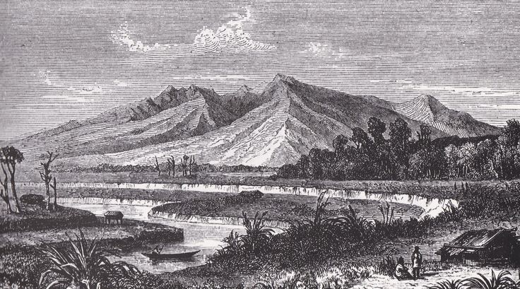 Mount Pirongia in the 1860's. This mountain was a famous haunt of the patupaiarehe, or fairies.