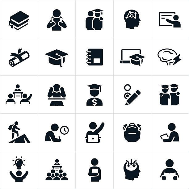 Advanced Education Icons Vector Art Illustration Com Imagens