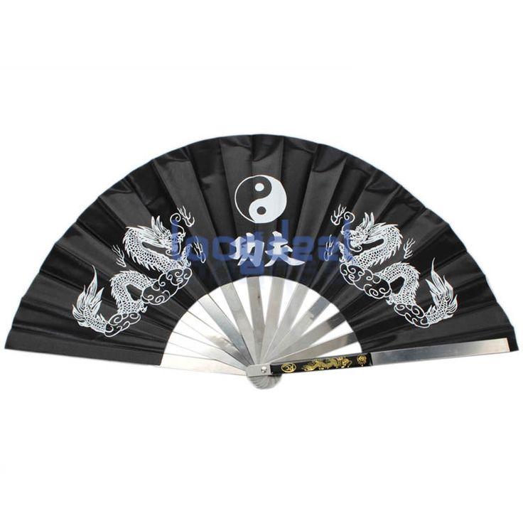 Новый китайский дракон рама из нержавеющей стали тай чи боевых искусств кунг-фу фан черный