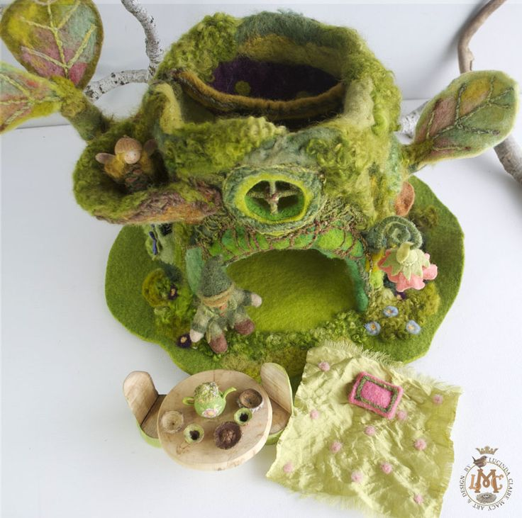 Forest Spirit House furnishings, Fairy dishes, silk comforter, soft pillow